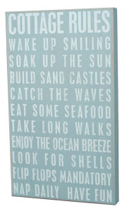 Cottage Rules Box Sign