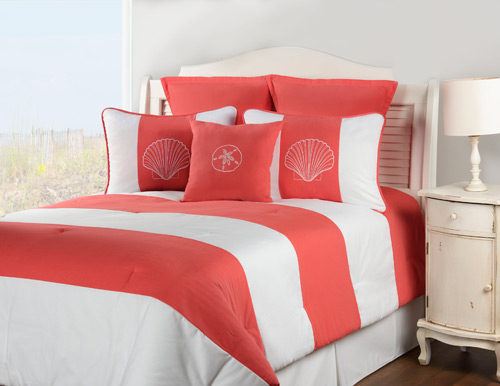 Shell Island Coral Duvet Cover Set
