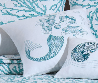 Cora Blue Mermaid Pillow