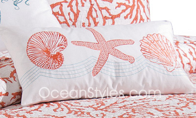 Cora Red Seashell Pillow