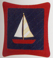 Red & Blue Sailboat Throw Pillow