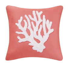 Coral Hooked Throw Pillow