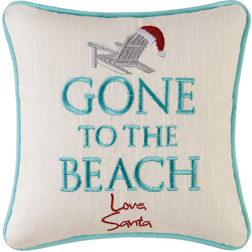 Gone To The Beach Love Santa Mini Pillow