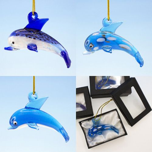 Glass Dolphin Ornaments