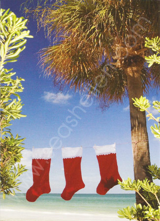 Beach Stockings Boxed Christmas Cards
