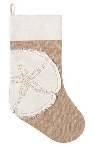 Merry Coastmas Burlap Sand Dollar Stocking