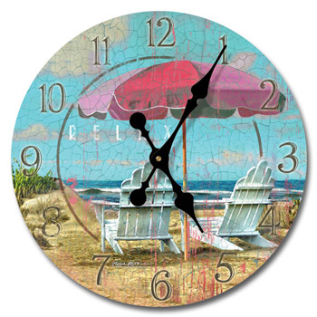 Relax At The Beach Wood Wall Clock