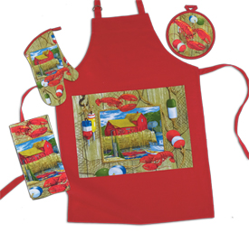 Lobster Shack Oven Mitt, Potholder, Towel Set
