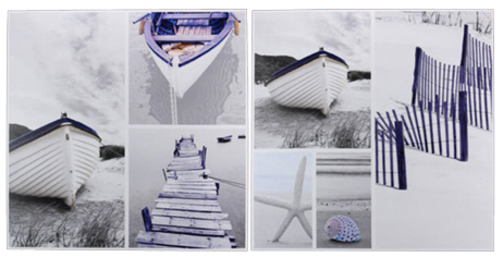 Set of 2 Seaside Collage Canvas Art