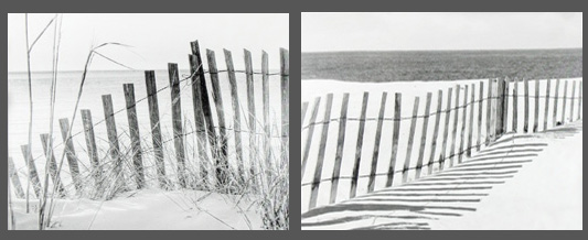 Set of 2 Black & White Dune Fence Canvas