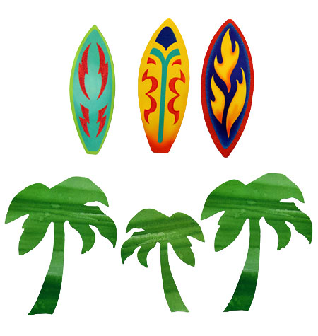 Surfboards & Palm Trees Wall Cutouts