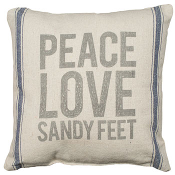 Peace Love Sandy Feet Linen Pillow