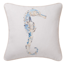 Blue Seahorse Throw Pillow
