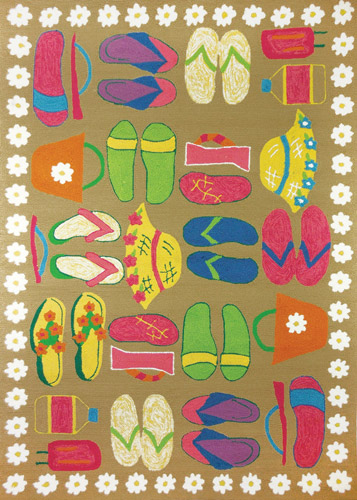 Sandy Beach Sandals Area Rug