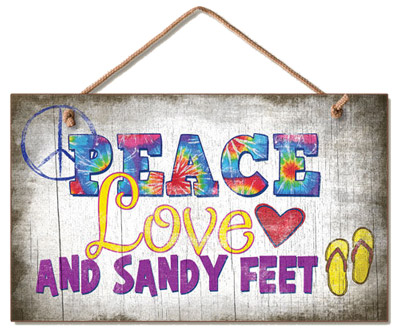 Peace Love & Sandy Feet Wood Wall Sign