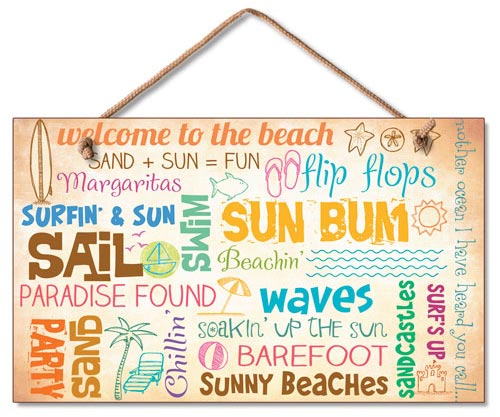 Welcome To The Beach Wood Wall Sign