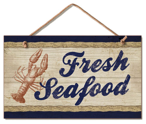 Fresh Seafood Wood Wall Sign