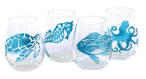 Set of 4 Sealife Shatterproof Stemless Wine Glasses