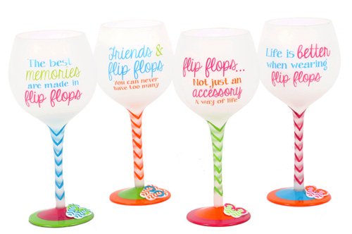 Flip Flop Quotes Wine Glasses