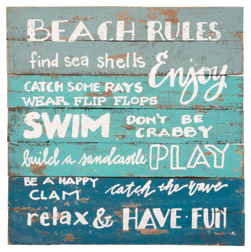 Beach Rules Slat Wood Sign