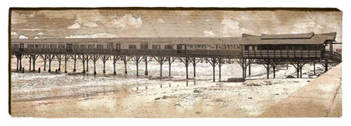 Balinese Pier Sepia Milled Wood Art