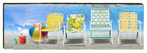 Beach Chairs Abstract Milled Wood Art